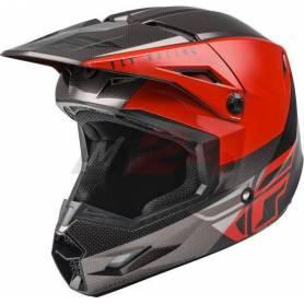 Fly Racing Kinetic ECE Straight Edge Race Helmet Black/Grey/Red