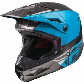 Fly Racing Kinetic ECE Straight Edge Race Helmet Black/Grey/Blue