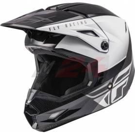 Fly Racing Kinetic ECE Straight Edge Race Helmet Black/White