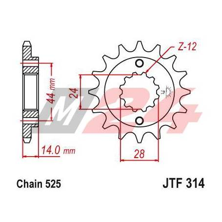 Steel Front Sprocket. JTF314.15